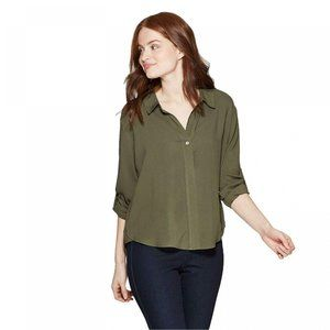NWT A New Day Roll Tab Popover Shirt XS Olive